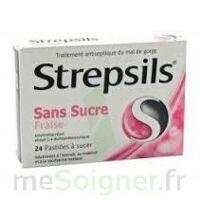 STREPSILS FRAISE SANS SUCRE, pastille édulcorée à l'isomalt, au maltitol et à la saccharine sodique à MONTPELLIER